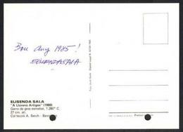 *Elisenda Sala Ponsa* Ceramista. Tarjeta Postal Con Texto Autógrafo Al Dorso. Navidad 1984. - Autógrafos