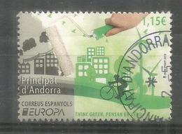 ANDORRA. EUROPA 2016.Think Green, Pensar En Verd. Un Timbre Oblitere, 1 Ere Qualite - Europa-CEPT