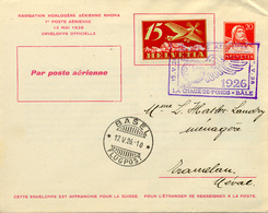 """Premier Vol """" La Chaux De Fonds-Bâle """" Nhora 1926 Marque D'horlogerie, Entier Postal. Voir 2 Scan - First Flight Covers"""