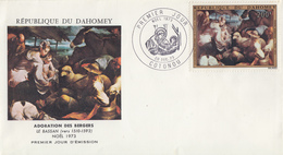Enveloppe  FDC  1er  Jour   DAHOMEY    Oeuvre   De   LE  BASSAN    Adorations  Des  Mages   1973 - Bénin – Dahomey (1960-...)