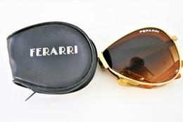 Glasses :  Vintage FERARRI Foldable Folding Sunglasses With Black Zip Case Aviator - Original - Used Condition - Jewels & Clocks