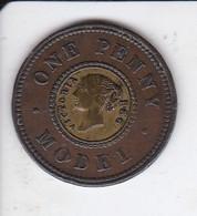 MONEDA DE REINO UNIDO DE 1 PENNY MODEL DEL AÑO 1840 (PRUEBA)  (COIN) RARA - Comercio Exterior, Ensayos, Contramarcas Y Acuñaciones