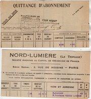 VP11.988 - Electricité - Lampe - Quittance D'Abonnement NORD - LUMIERE ( Le Triphasé ) X 2 - Electricity & Gas