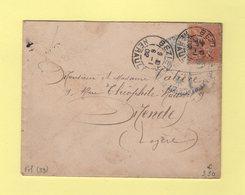 Beziers - Herault - 6-1-1902 - Timbre FM Mouchon - Marcophilie (Lettres)