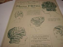 ANCIENNE PUBLICITE LES POSTICHES COIFFURE DE MARIUS HENG 1914 - Accessories