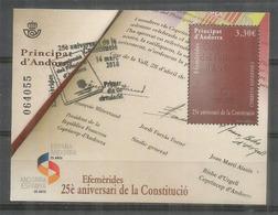 Constitution D'Andorre Annee 2018. Un Bloc-feuillet Oblitere, 1 Ere Qualite . Haute Faciale.Signature F.Mitterrand - Blocks & Sheetlets