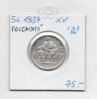 """Italia - 1937 - 5 Lire - XV - """"R"""" - Fecondità - Argento - Vedi Foto - (FDC9585) - 1861-1946 : Kingdom"""