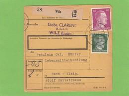 GEBR. CLARENS G.M.B.H. WILZ.PAKETKARTE AN EINER LEBENSMITTELHANDLUNG IN ESCH-ALZIG. - 1940-1944 Ocupación Alemana