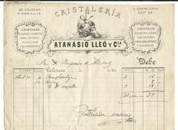 ESPAÑA VALENCIA 1870 FACTURA CRISTALERÍA ATANASIO LLEÓ Y CÍA - España