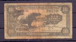 Ruanda  Urundi  10 Fr 1960 F - Ruanda-Urundi