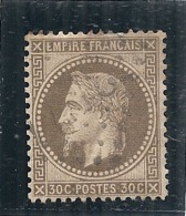 Napoléon III  Lauré N° 30 - Brun Fond Ligné Côte 50€ TTB - 1863-1870 Napoleon III Gelauwerd