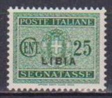 COLONIE ITALIANE LIBIA 1934  SEGNATASSE SOPRASTAMPATI SASS. 15 MLH VF - Libye
