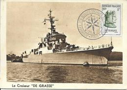 """1082 - JOURNÉES DES OEUVRES SOCIALE DE LA MARINE - 1/2-12-56 -le Croiseur """"DE GRASSE""""- SUP - Postmark Collection (Covers)"""