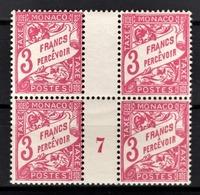 MONACO 1924 / 1932 - BLOC DE 4 TT  N° 25 - MILLESIME 7 / NEUFS** - Postage Due