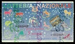 LOTTERIE-LOTTERY-LOTERIE-LOTTERIA NAZIONALE ITALIA-PUBBLICITARIE-ZODIACO-SEGNI ZODIACALI - Biglietti Della Lotteria