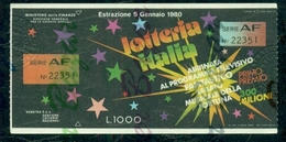 LOTTERIE-LOTTERY-LOTERIE-LOTTERIA NAZIONALE ITALIA-PUBBLICITARIE- - Biglietti Della Lotteria