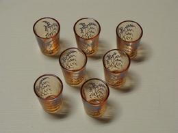Verres à Liqueur Anciens émaillés Lot De 7 TBE - Glasses