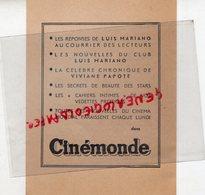 75- PARIS - BULLETIN ADHESION CLUB LUIS MARIANO- CINEMONDE- 2 AVENUE MATIGNON- CINEMA-VIVIANE PAPOTE - Pubblicitari