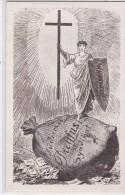 """JUDAÏCA  ANTISEMITISME Femme Portant Croix & Bouclier """"WAHRHEIT"""" Sur Sac D'argent """"Jüdisches Dreyfus Syndikat """" - Judaisme"""