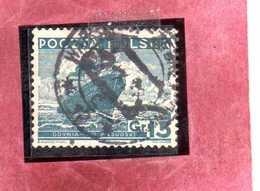 "POLONIA POLAND POLSKA 1935 1936 SHIP M. S. ""Pilsudski,"" MOTO NAVE 15g USATO USED OBLITERE' - Usati"