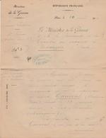 Courrier Ministère Guerre 1907 / Envoi Testament Vétérinaire Ganeval De Besançon (25) Mort à Madagascar - Unclassified
