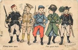 ENFANTS MILITAIRES - Cinq Bon Amis,différent Uniformes,carte Illustrée Par F .Chamouin. - Uniformes
