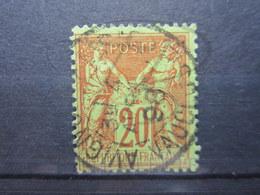 """VEND BEAU TIMBRE DE FRANCE N° 96 , GARANCE SUR VERT , CACHET """" AVIGNON """" !!! - 1876-1898 Sage (Type II)"""