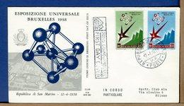 SAN MARINO - FDC - ALA - 1958 - ESPOSIZIONE UNIVERSALE BRUXELLES - FDC
