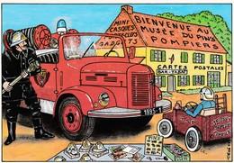 CPM 10x15.  Musée Du Pin's POMPIERS.  St Amand Le Petit (87) Illust PEGE 1995 ( Tirage Limité N°1329 S/ 2000 Ex) - Sapeurs-Pompiers