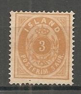 ISLAND - 1882 Yv. N° 12 A Dentelé 14x 13 1/2 (*) 3a  Cote 60 Euro BE  2 Scans - Neufs