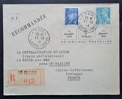 POCHE De L'ATLANTIQUE ILOT De St NAZAIRE Enveloppe Recommandé LA BAULE 11 Novembre 44 - Marcophilie (Lettres)