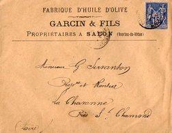 VP11.997 - Enveloppe - Fabrique D'Huile D'Olive GARCIN & Fils Propriétaires à SALON ( Bouches - Du - Rhône ) - France