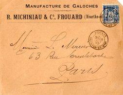 VP11.998 - Enveloppe - Manufacture De Galoches R. MICHINIAU & Cie à FROUARD - 1800 – 1899