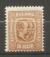 ISLAND - 1907 Yv. N°  48   *  3a  Frésérixc VIII, Christian IX   Cote  3,5 Euro BE  2 Scans - Neufs