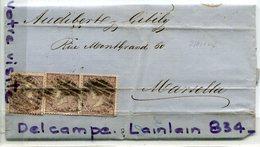- Espagne - Lettre Plié De Barcelone - 1869, 3 Timbres, Pour Marseille, Audibert, Nombreux Cachets, Scans. - 1868-70 Gobierno Provisional