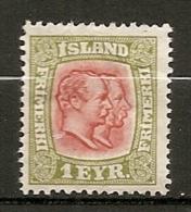 ISLAND - 1913 Yv. N°  75   *  1a   Filigrane Croix   Cote   7 Euro BE    2 Scans - Neufs