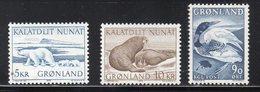 GROENLANDIA  1966/76 - FAUNA - ANIMALI E UCCELLI - 3 VALORI  - MNH ** - Greenland