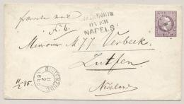 Nederlands Indië - 1885 - 25 Cent Willem III, Envelop G3 Van Kleinrond En Puntstempel BUITENZORG Via Napels Naar Zutphen - Nederlands-Indië
