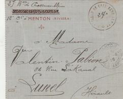 Cachet 27 è Bataillon Des Chasseurs Alpins MENTON Riviera 25/4/1915 Sur Carte Lettre - Poststempel (Briefe)