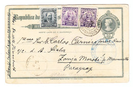 Brazil/Paraguay UPRATED POSTAL CARD 1909 - Entiers Postaux