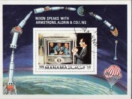 Manama 1972 Mi. Bf. 172B Apollo 11 First Men On The Moon Nixon Aldrin Collins Armstrong Sheet CTO Imperf. - Asia