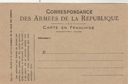 Carte Militaire Franchise Correspondance Des Armées De La République Neuve Modéle A Bis Pour Troupes Zone Des Armées - Postmark Collection (Covers)