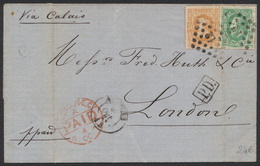 émission 1869 - N°30 Et 33 Sur LSC Obl Pt 12 + Obl DC Anvers Vers Londre. Verso étiquette Publicitaire. TB - 1869-1883 Leopold II
