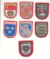 Suisse, Espagne, URSS, Danemark, Royaume -Uni, Suède, Autriche -  Lot De 7 écussons En Tissu Brodé (hol) - Ecussons Tissu