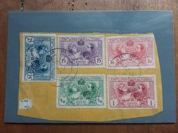 SPAGNA - Expo Madrid 1907 Nn. 236/40 Su Frammento - Timbrati + Spese Postali - 1889-1931 Regno: Alfonso XIII