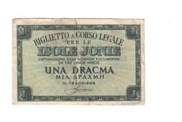 ISOLE JONIE 1 DRACMA 1942  LOTTO 506 - Unclassified