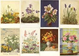 AK 8 Stück Ansichtskarten Blumen-Motive   (2881 - Ansichtskarten