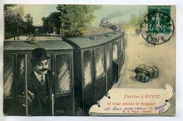 """92 RUEIL MALMAISON Gare  Voyageur Train """" J'arrive à """" Timbrée 1910     /D12-2018 - Rueil Malmaison"""