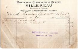 Facture  Du 11/05/1891  Manufacture D'Instruments De Musique MILLEREAU  66 Rue D'Angoulême Paris  Fournisseur De L'armée - 1800 – 1899