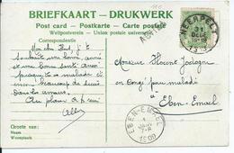 Fantasiekaart  Met OCB 83 - Afstempeling NEERPELT / EBEN-EMAEL  - Lijnstempel ACHEL - 1893-1907 Wapenschild